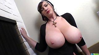 Busty Lana Kendrick Halloween Nun Fetish Cosplay - Big Natural Tits