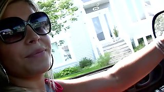 Sexy Stepmom Shows Off Feet While Driving