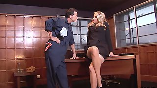 Lucky Janitor Drills An Attractive Blonde Attorney On Her Office Table