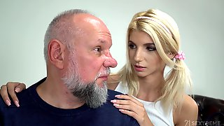 Cute Babe With Pigtails Missy Luv Is Having Crazy Sex With Old Fart