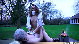 Homeless Teen Fucks Horny Grandpa For Food Outdoor