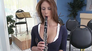 Stunning Redhead Music Student Gets Some Extra Credit Work