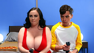 BBW Milly Marks Seduces Young Skinny Gamer