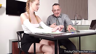 Old Teacher Is Fucking Pretty Hot Student Ivi Rein And Cums On Her Tushy
