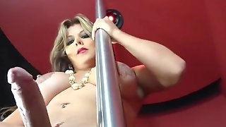 COUGAR She-Male Stripper Wanks To Ogasm.