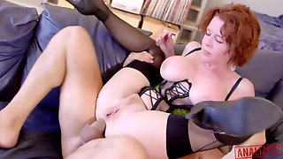 Crimson Haired Cougar Is Deep-throating Chisels And Getting Her Daily Portion Of Pulverize, During A Casual Threeway