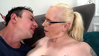 Tattooed Blonde Granny Sucks And Rides A Young Cock