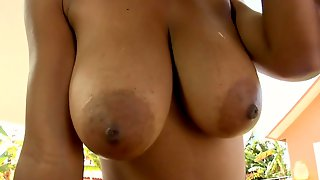 Ebony Babe With Great Natural Tits Getting Plowed Hard