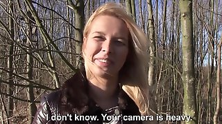 Pretty Blonde Babe Sucks Dick In The Forest For Money