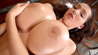 Busty Buffy Massaging Big Oiled Up Tits In Solo Food Fetish Play In The Kitchen