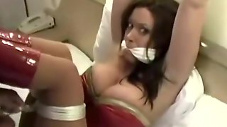 Wonder Woman Gets Her Big Boobs Tied Up On Camera