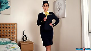 Lewd Stewardess In Uniform Tindra Frost Shows Off Yummy Pussy And Sexy Legs In Stockings