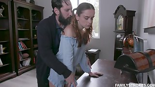 Jealous Stepdad Spanks And Fucks Pretty Ginger Stepdaughter Lily Glee