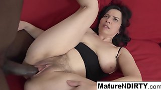 Mature With Natural Knockers Gets A Creampie In Her Hairy Pussy!