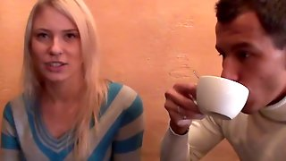 Russian Blonde Agrees To Suck Two Cocks For Cash In Public Restroom
