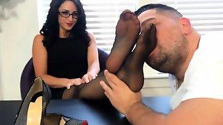 Foot Fetish And Footjob In Sheer Seamed Stockings