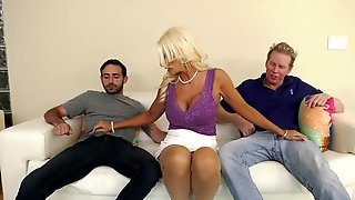 Busty MILF Lady Gets Rammed By Two Porn Fellows