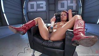 Solo Asian Slut Lands Entire Fucking Machine Up Her Tiny Holes