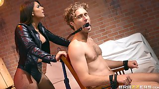 Gina Valentina Tied Up Her Lover And Pleasures His Cock In HD