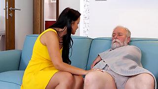 Grey-haired Old Man Fucking Young Latina Jennifer Mendez