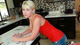 Stunning Blonde Hottie Dani Desire Opens Her Little Wet Crack