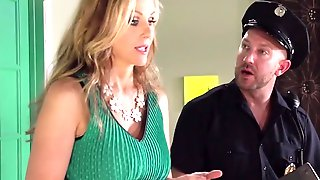 Threesome Of Diva In Green Dress With Husband And Policeman