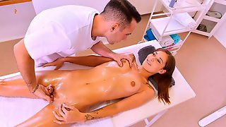 Awesome Small-tit Brunette Mina Gets Her Crack Fucked By Masseur