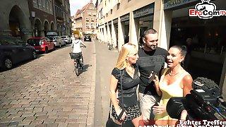 German Amateur Couple At Public Street Casting