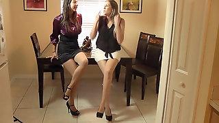 Dual Footjob In Stockings