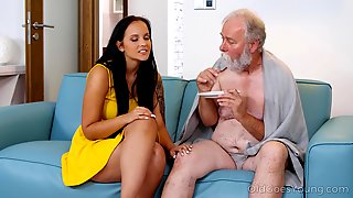 Eager Teen Fucks An Old Man And That Girl Has Got Long Ass Legs