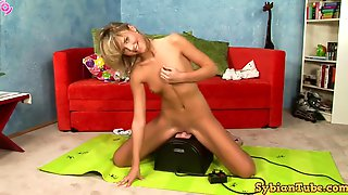 Sweet Blond Hair Lady Masturbating On A Sybian