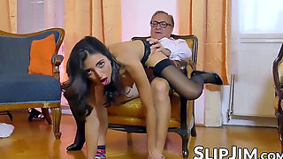 Teen In Pantyhose And High High-heeled Slippers Rides Old Mans Cock