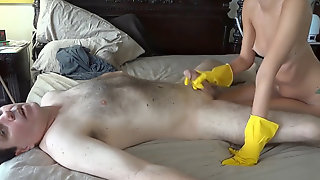 Call Girl Plumb Customer In Yellow Rubber Gloves