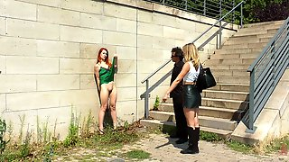 Dominant Mona Wales Ties Up An Tortures Her Friends In Public