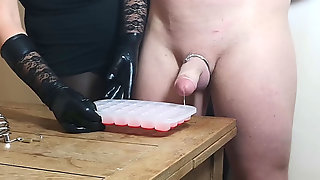 Chastity Let Out - Very First Ruined Orgasm For The Xmas Ice Cube Challenge
