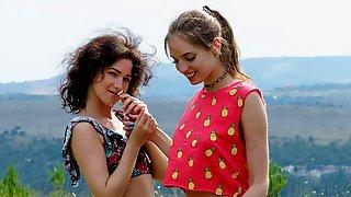 Lesbian Girls Pleasing Each Other Outdoors