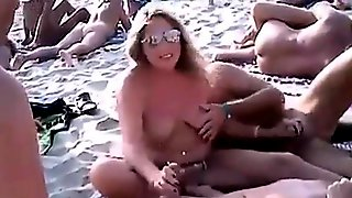 Nudist Beach Couple Fun