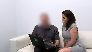 Spanish Babe Rides Agents Cock