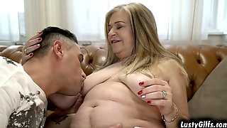 Grandma Betsy B Enjoys Getting Fucked On A Couch