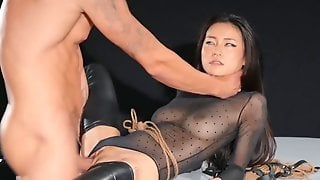 Bound Brunette Girl Gets Rammed By A Total Hunk