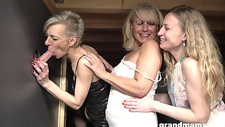 Gloryhole Fun With One Large Cock And Three Mature Amateurs