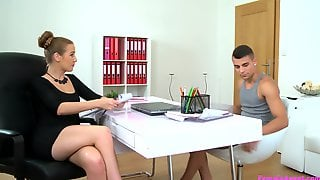 Female Agent Gets Horny From A Big Rod And Spreads Her Legs For Sex