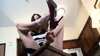 Beauty Enjoying Foot Massage And Foot Sex