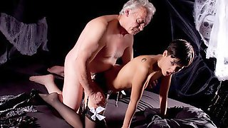 Stunning Hottie Coco Del Mal Knows How To Give A Blowjob For An Old Man