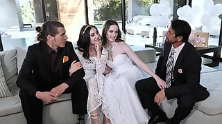 Naked Babes Swap Dicks On The Wedding Day