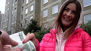 Amazing Hard Sex For Money With A Shy European Babe In Heats
