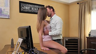 Lovely Blonde Fucked At The Office And Made To Swallow