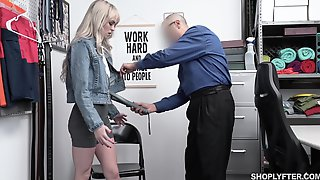Guilty Blonde Chick Lilly Bell Strips Before Cop And Gets Poked Missionary