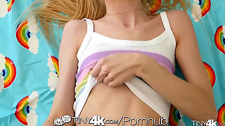 TINY4K Petite Teen Glides Humungous Chisel Into Tight Wet Pussy Hole