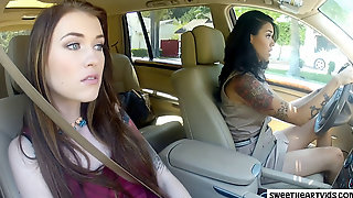 Stepmommy And Stepdaughter In The Car